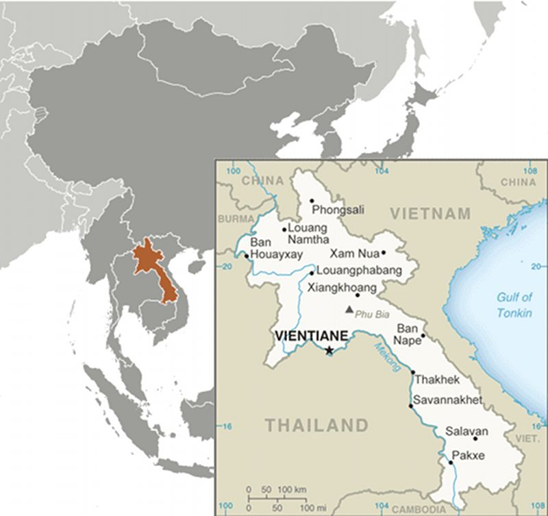 Laos (Lao PDR) map