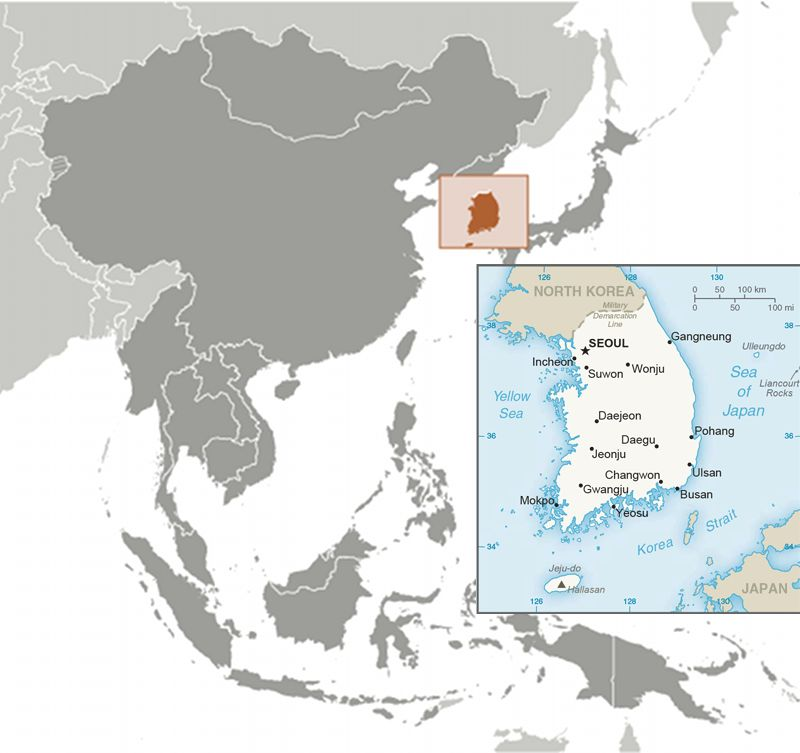 South Korea (ROK) map