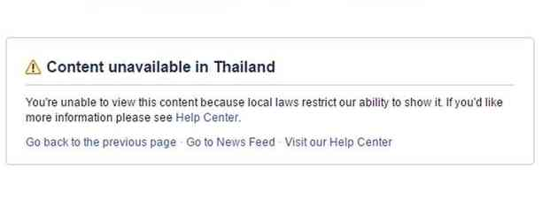 Content unavailable in Thailand
